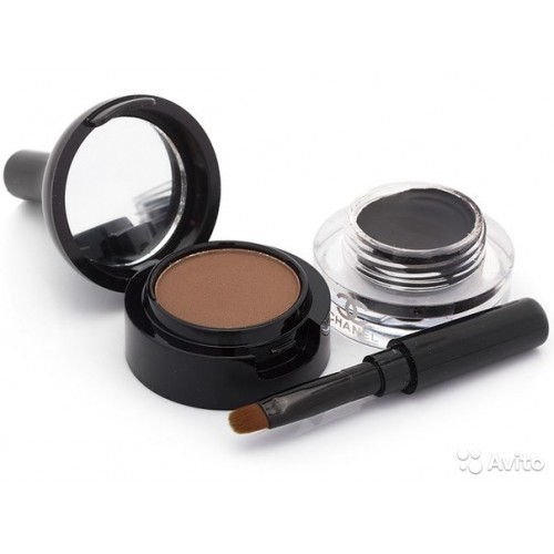 Тени для бровей + гелевая подводка для глаз Chanel 2в1 коричневые